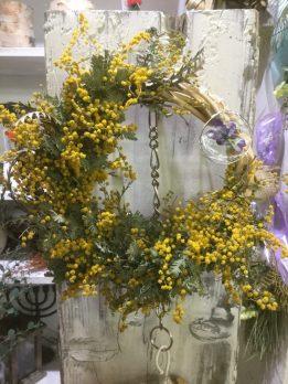 黄色、紫、リース、ミモザ、レジン、uvレジン、ミモザリース、