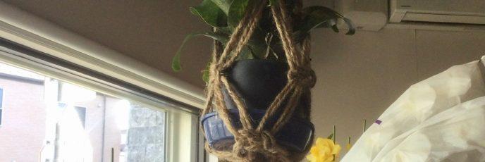 マクラメハンギング、麻、手編み、観葉植物